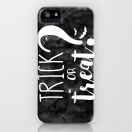 Trick Or Treat? | Black And White iPhone Case