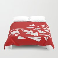 planes Duvet Covers featuring Paper Planes by Becky Gibson