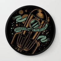 vonnegut Wall Clocks featuring sirens of titan - vonnegut by miles to go