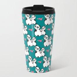 Panda family on meadow Travel Mug