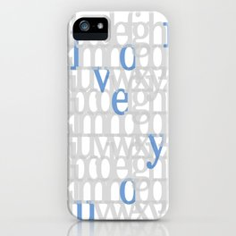 The ABC of i love you. In Blue.  iPhone Case