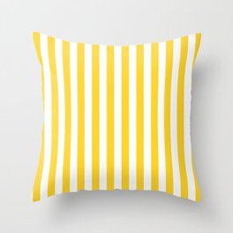 Large Taxi Yellow and White Cabana Stripe Throw Pillow