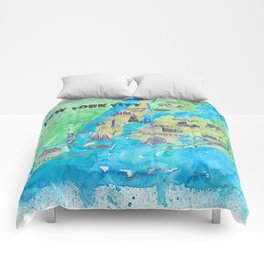 New York City Favorite Travel Map with Touristic Highlights Comforters