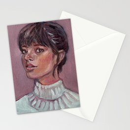 Oil painting - Girl Portrait #4 Stationery Cards