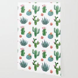 Desert in Bloom cactus Pattern Wallpaper