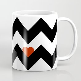 Heart & Chevron - Black/Classic Red Coffee Mug