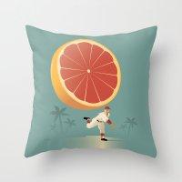 league Throw Pillows featuring Grapefruit League by John W. Tomac