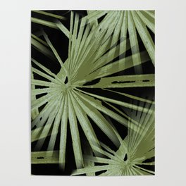 Green On Black Tropical Vibes Beach Palmtree Vector Poster