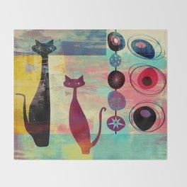 Mid-Century Modern 2 Cats - Graffiti Style Throw Blanket