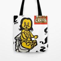 zappa Tote Bags featuring ZAPPA CRAPPA Lego Minifigure by CreepWerks