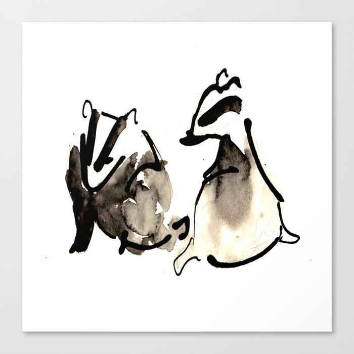 Badger Couple Canvas Print