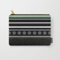 Green Black and White Stripes and Mandala Pattern Carry-All Pouch
