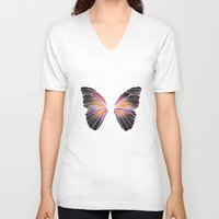 techno V-neck T-shirts featuring Techno Butterfly by miss ninja cookie