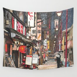 Lights in the Snow Wall Tapestry