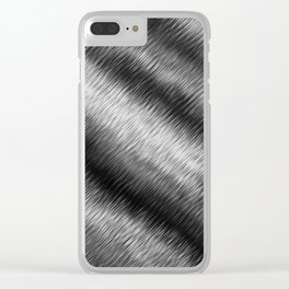 Black and White Hatched Ombre Clear iPhone Case