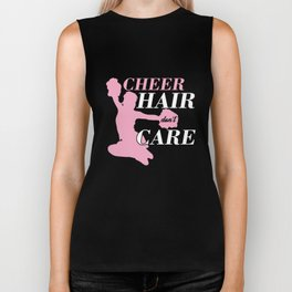 Pretty Cheerleaders Awesome Gifts Cheer Hair Don't Care  Biker Tank