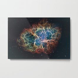 Crab Nebula in constellation Taurus. Supernova Core pulsar neutron star. Metal Print