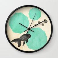 swim Wall Clocks featuring Swim by Field & Sky