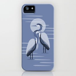 Blue Great Blue Heron Pair iPhone Case