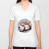 red panda V-neck T-shirts featuring panda by JuliaTara