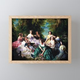 """Franz Xaver Winterhalter's masterpiece """"The Empress Eugenie surrounded by her Ladies in waiting"""" Framed Mini Art Print"""