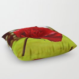 Single red rose Floor Pillow