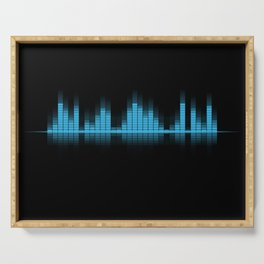 Cool Blue Graphic Equalizer Music on black Serving Tray
