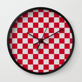 Red and Light Grey Check Wall Clock