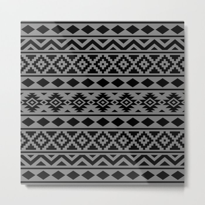 Aztec Essence Ptn III Black on Grey Metal Print