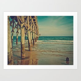 Fishing Pier Surf City Beach Topsail Island NC Vintage Colors Art Print