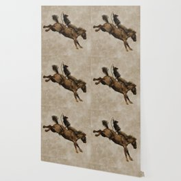 Western-style Bucking Bronco Cowboy Wallpaper