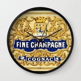 Vintage French Fine Champagne Cognac Bottle Label Print Wall Clock