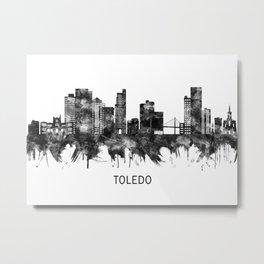 Toledo Ohio Skyline BW Metal Print