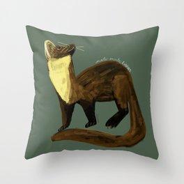Fluffy Marten ( Martes martes ) Throw Pillow