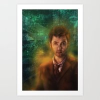 david tennant Art Prints featuring 10th Doctor David Tennant by SachsIllustration