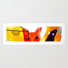 CAT AND MICE OVER A CHEESE Art Print