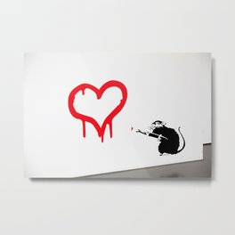 Banksy Rat Love Black&White Red Heart Metal Print