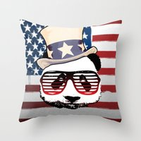 patriotic Throw Pillows featuring Patriotic Panda by crayzeestuff