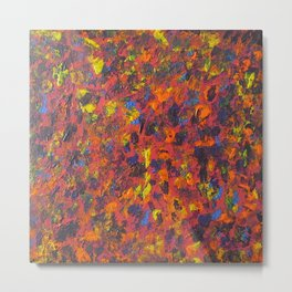 Autumn Colors Splatter Painting Metal Print