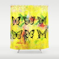 butterflies Shower Curtains featuring Butterflies by ShaMiLa