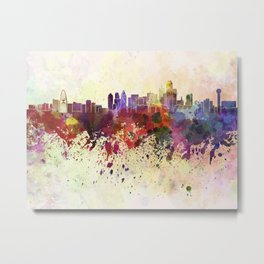 Dallas skyline in watercolor background Metal Print