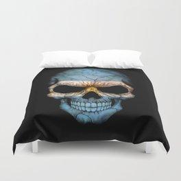 Dark Skull with Flag of Argentina Duvet Cover
