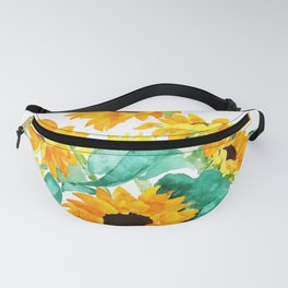 sunflower in green vase watercolor Fanny Pack