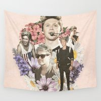 niall Wall Tapestries featuring Niall Horan + Flowers by Ladsandstuff