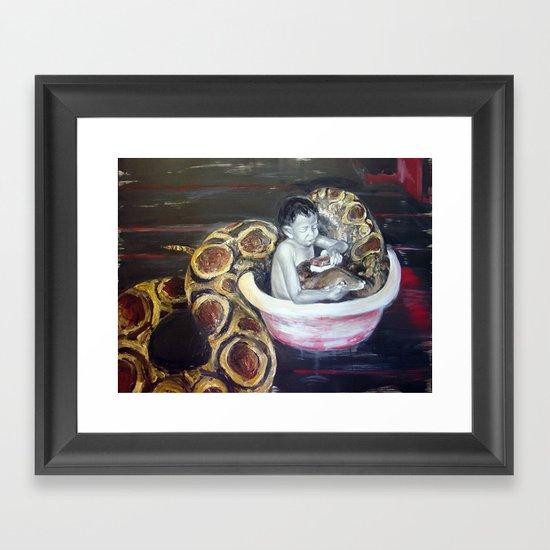Washing Mathilda Framed Art Print