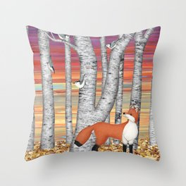 nuthatches and fox in the birch forest Throw Pillow
