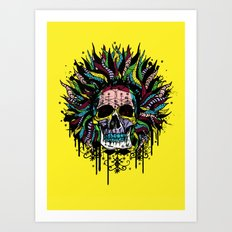 Magical Voodoo Skull Warrior Art Print