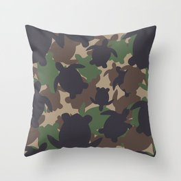 Turtle Camouflage Green Throw Pillow