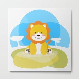Lion in the savannah Metal Print