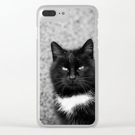 Black and white cat portrait Clear iPhone Case